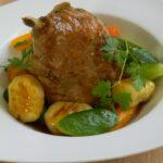 Jambonnette de canard et ses légumes, courgettes, carottes, gnocchis