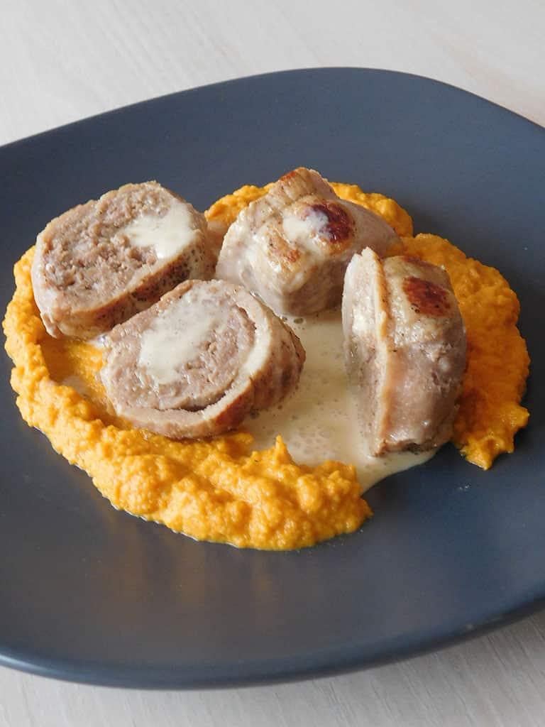 Paupiettes de veau, purée de carottes, écume de raifort