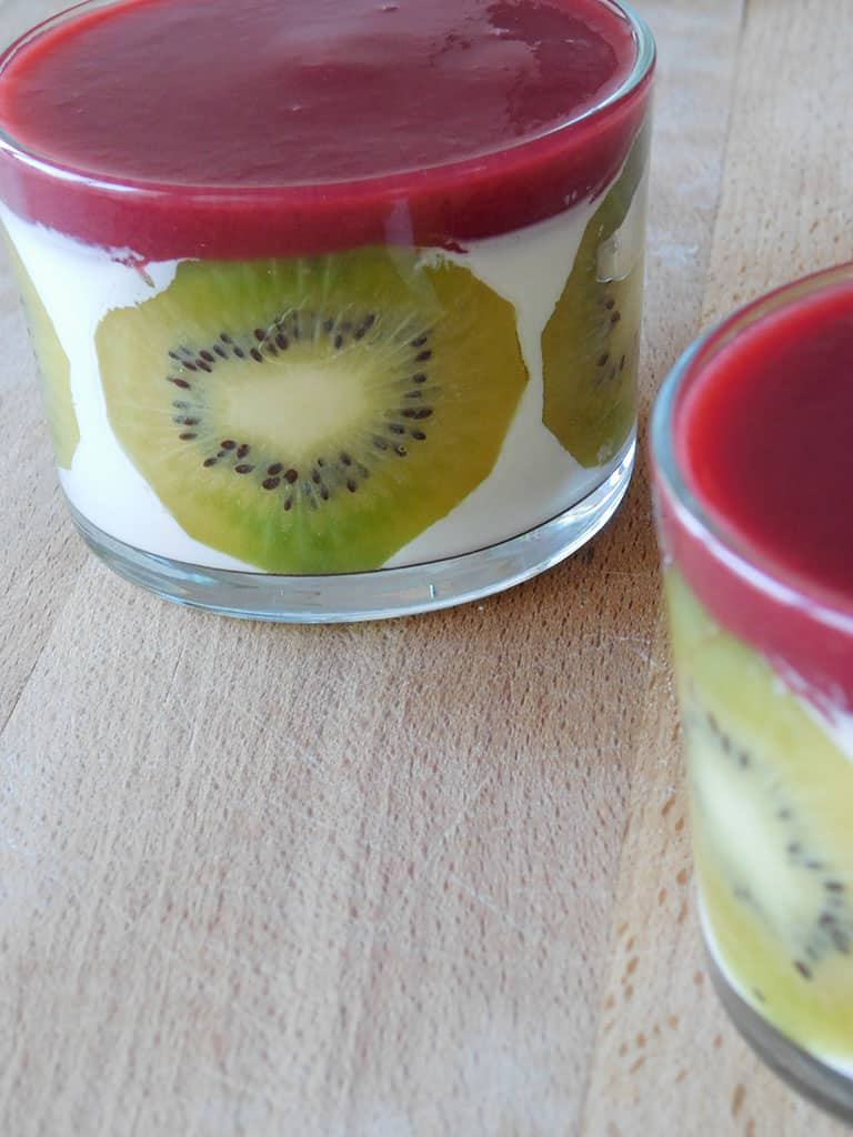 Panna cotta aux fruits rouges et kiwi