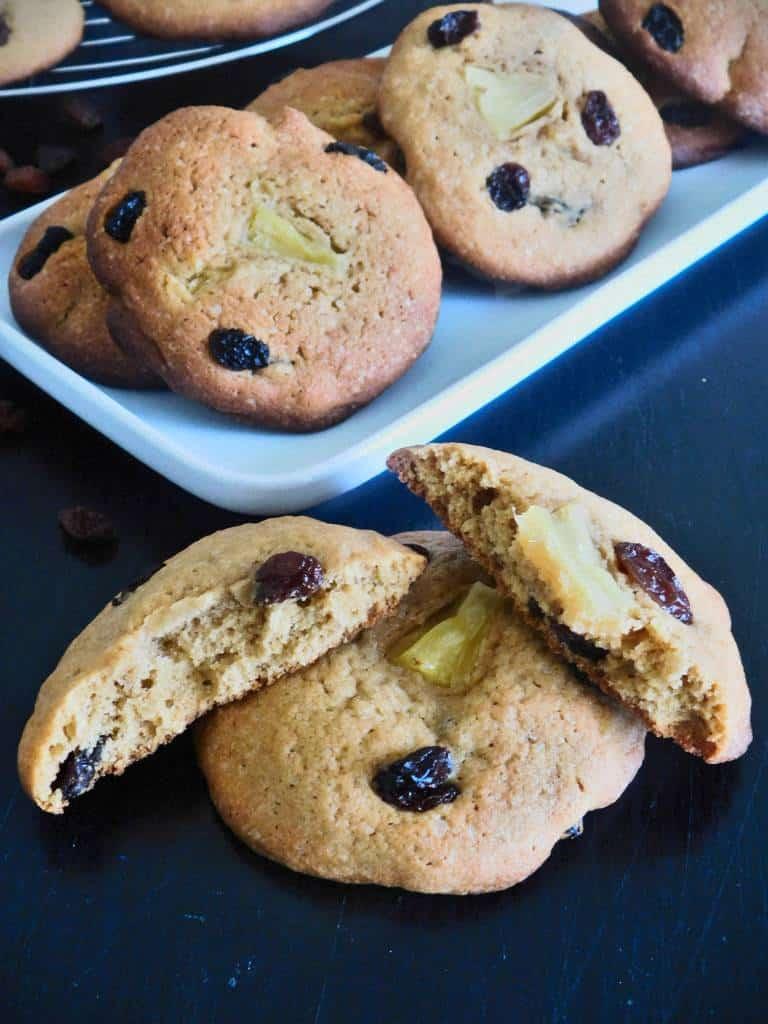 Cookies ananas et raisins secs