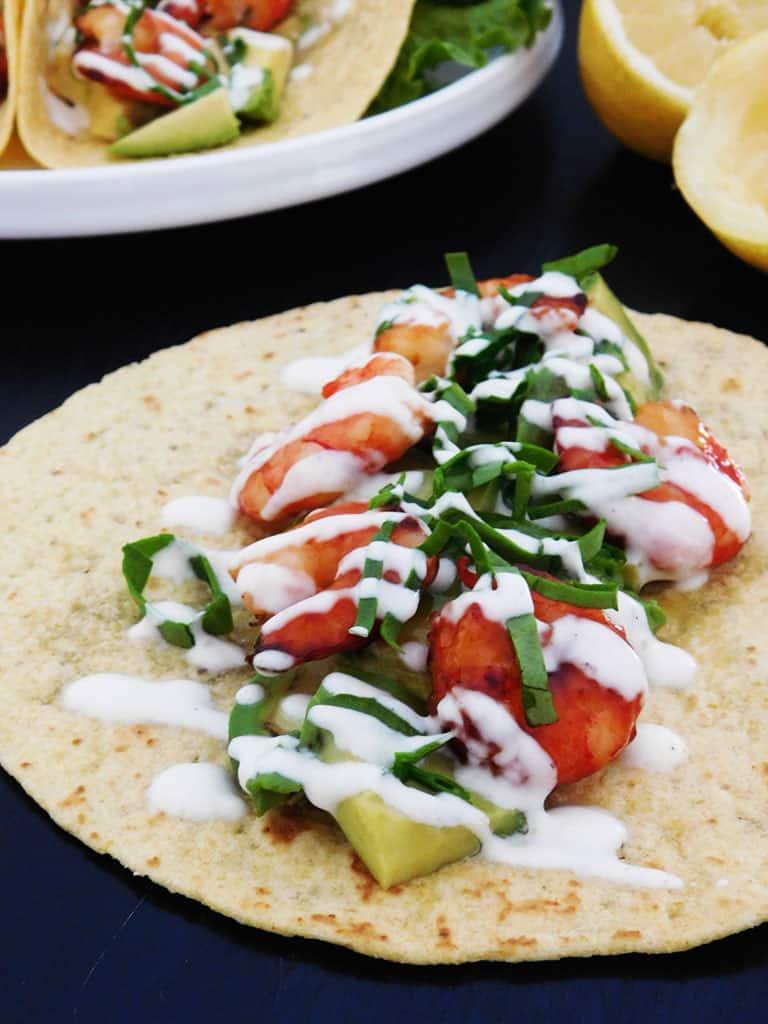 Tacos avocat crevettes